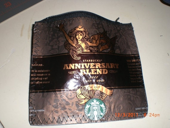 "Starbucks Anniversary Blend Coffee Bag Zippered Pouch 5"" x 6"" no grommet or key ring - made to order"