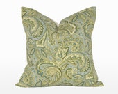 """18"""" x 18"""" Decorative Throw Pillow / Accent Cushion Cover (Indoor) (Teal, Olive and Blue Paisley)"""