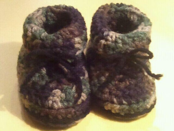Crocheted Camoflauge Baby Booties / Classic Camo Collection
