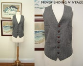 Vintage Men's Grey Tweed Vest - size Small to Medium