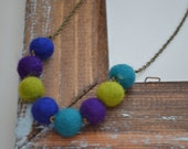 CLEARANCE ITEM: Small Wool Multi Color Necklace