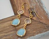 Dangle Earrings- Blue Jade & Clear Gold Glass Faceted Pendant