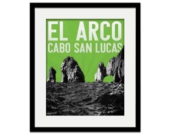 Cabo San Lucas Mexico El Arco Rock Vacation Souvenir Gift Skyline - choose your color - Wall Art Wedding