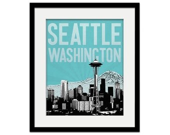 Seattle Wall Art space needle tower blueprint print on canvas seattle
