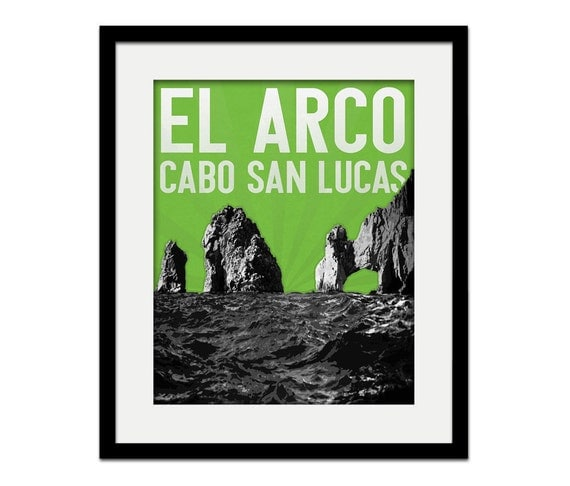 Cabo San Lucas Mexico El Arco Rock Vacation Souvenir Gift Skyline - choose your color - Wall Art Wedding