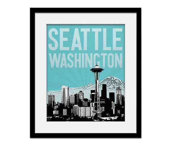 Seattle Washington City Skyline - choose your color - Wall Art - Souvenir - Wedding Gift - Print - Space Needle