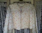 Vintage Floral Chintz Satin Quilted Bedjacket 1940s