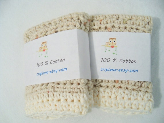 Large Natural Cream hand made Cotton Dishcloths-Washcloths  -set of 2