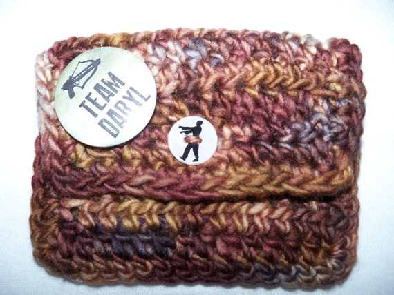 Crocheted Team Daryl travel Tea keeper wallet with pin back button