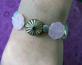 Glass Flower & Silver Beaded Bracelet