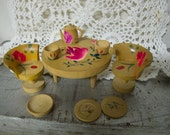 Miniature vintage dollhouse hand painted wood table & chair set with dishes