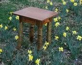 Birch, cherry, goldenrod end table