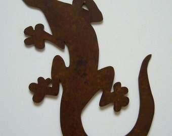 Metal art steel gecko lizard southwest natural patina wall decor rustic
