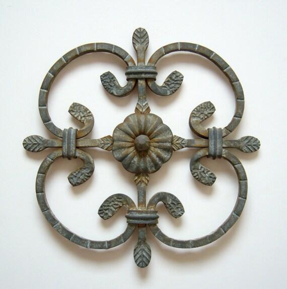 Metal art steel flower scroll cross southwest natural patina rustic