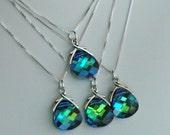 Bridesmaids Gift Set   --- 4 Peacock Necklaces  ---- Sterling Silver Swarovski Crystal Aqua Green Sphinx Necklaces