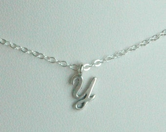 Petite Sterling Silver Initial Charm Necklace, Monogram Necklace, Initial Necklace, Name Necklace, Personalized Necklace