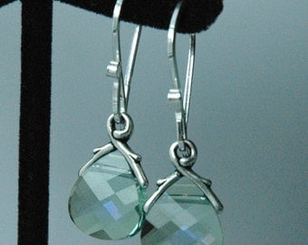 Aquamarine Small - Swarovski Crystal Aquamarine Sterling Silver  Earrings