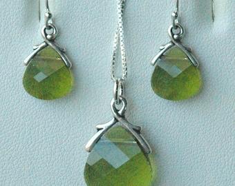Olivo Set - Swarovski Crystal Olive Briolette Necklace/Earrings --SET, Bridesmaids Gift Set, Bridesmaids Jewelry