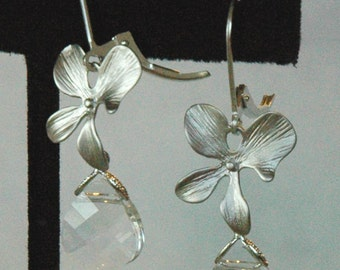 Sterling Silver Orchid and Swarovski Crystal Briolette Earrings