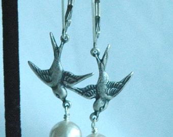 Sparrows with Swarovski Crystal Pearl Earrings