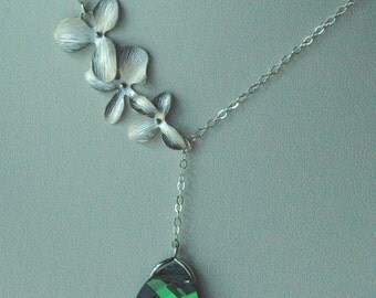 Sterling Silver Orchid Triple Flower  Lariat Style and Swarovski Crystal Aqua Sphinx Necklace