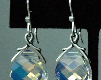 Crystal AB Large - Swarovski Crystal AB  Sterling Silver  Earrings, Bridesmaid Gifts, Wedding Bride Bridal Jewelry, Bridesmaid Earrings