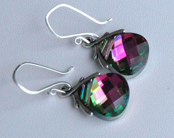 Crystal Watermelon Large - Swarovski Crystal Pink, Green  Sterling Silver  Earrings
