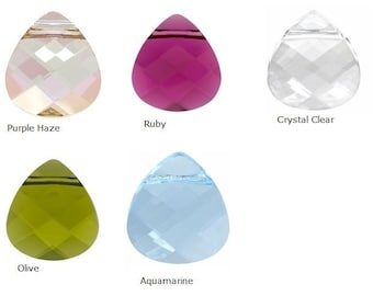 Choose your color  --- Swarovski Crystal Briolette Pendant Necklace Earrings - SET, Bridesmaids Jewelry Set  Earrings Necklaces