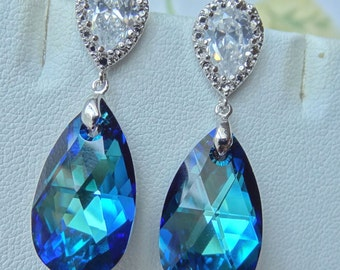 Swarovski Crystals Bermuda Blue Peacock with Cubic Ziconia Post Sterling Silver Earrings, Bridesmaids Bride Bridal Earrings- Free Shipping