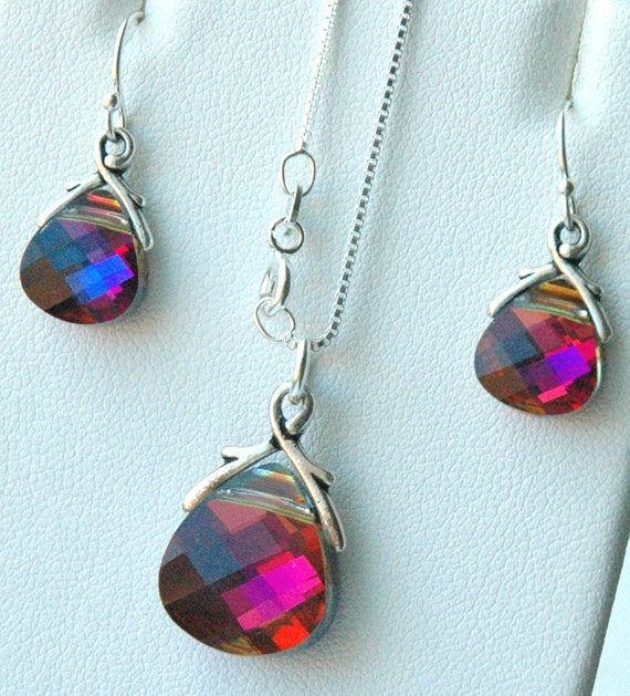 Volcano Set - Swarovski Crystal Volcano Briolette Earrings and Necklace, Bridesmaids Gift Set, Bridesmaids Earrings
