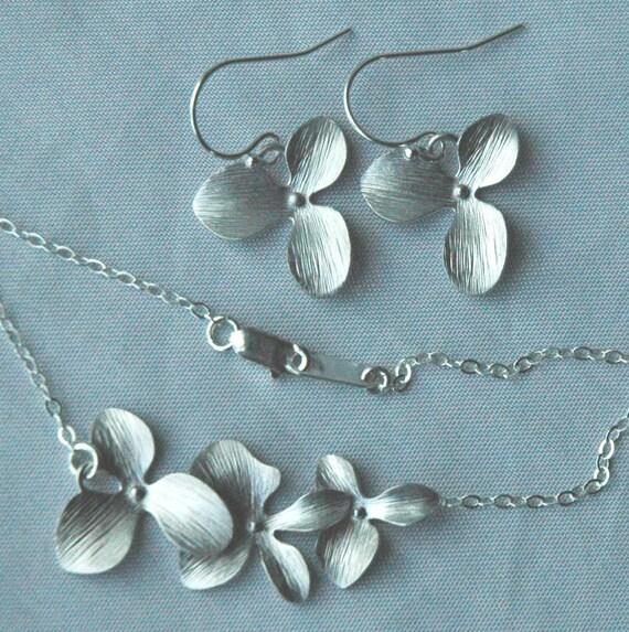 Sterling Silver Simple Triple Orchid Flower Earrings Necklace -SET