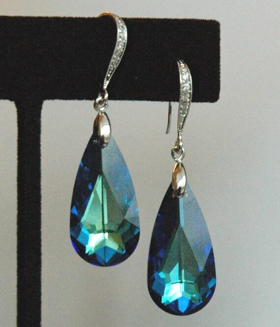 Peacock - Bermuda Blue Swarovski Crystal and Sterling Silver Cubic Zirconia Earrings