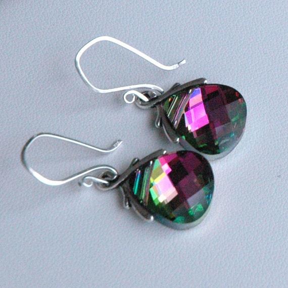 Crystal Watermelon Large - Swarovski Crystal Pink, Green  Sterling Silver  Earrings