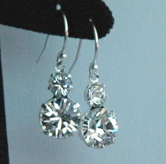 Bridesmaids Gift Earrings --- Diamond - Swarovski Crystal and Sterling Silver, Wedding  Earrings, Junior Bridesmaids