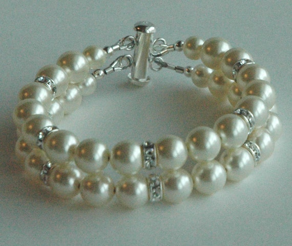 Wedding Bride  Swarovski Crystal Pearl Double Strand Rhinestone Bracelet,  Bridal Jewelry, Bridesmaid  Gift Bracelet