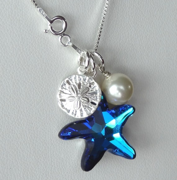 Swarovski Starfish Bermuda Blue on Steling Silver Beach Necklace, Bridesmaids Gift Necklace, Wedding Beach