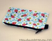 Ladybug MIni Zipper Pouch with Black Lining and Black Zipper