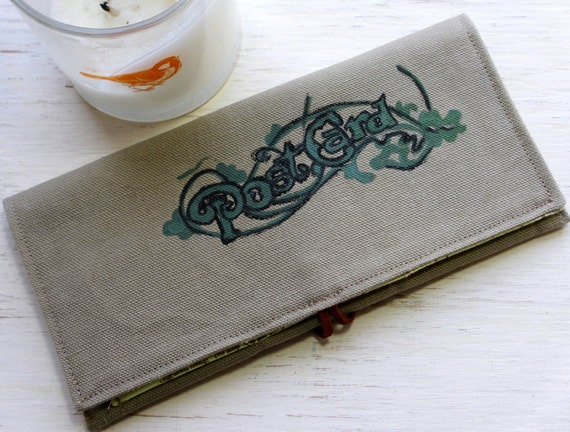 One of a Kind Hand Painted Script and Filigree Limited Edition Journeyers Series Green Duck Cloth Large Wallet and Checkbook Holder