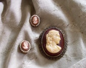 cameo brooch or pendant and earrings ... pretty demi parure