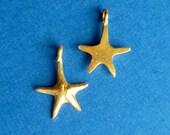 2  starfish vermeil charms, dangles, pendants, 16x10mm, cast, 20-24K gold gilded sterling silver, 1 pair, sea star (CHMSFSS)