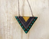 Tribal necklace - FREE SHIPPING, Geometric necklace, Chevron necklace, Triangle necklace.  Ochre and brown and teal  (pp8n)