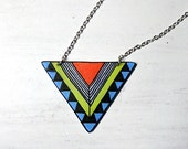 Geometric necklace - Chevron necklace, Triangle necklace, Tribal necklace. orange and lime and sky blue (pp10n)