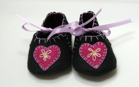 Felt Baby Booties in Black with Pink & Lavender Accents with Heart Flower Applique