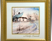 Ukrainian village before Christmas - 5 x 5 print with free shipping