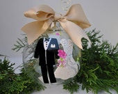 Hand Painted Glass Ornament Bride Groom Christmas Holiday Winter Wedding Gift Favor (Ecru Ribbon) Our First Christmas