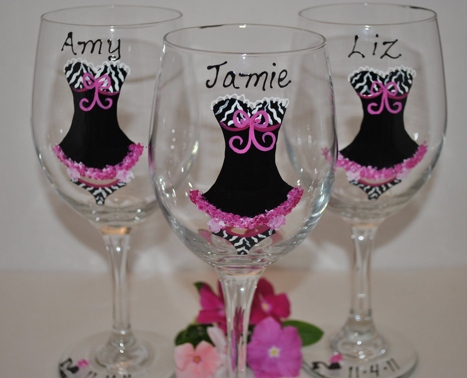 Custom wedding wine glasses 4 hand painted baby by thetoasthostess