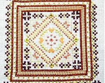 Autumn Gold Mini Mandala Biscornu pdf cross stitch chart / pattern instant download Special Stitches Sampler Tile Square Geometric Floral