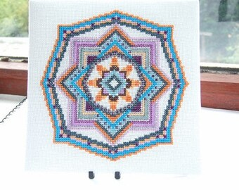 Sikuli Ojo De Dios Mandala PDF Cross Stitch Chart Pattern Eye of God Geometric Stitching Design Beaded