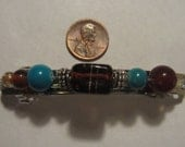 French Barrette with Glass and metal Beads