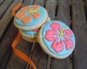 Tropical Hibiscus Custom Decorated Cookies